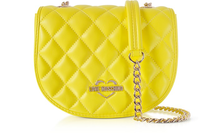 Yellow Superquilted Eco-Leather Small Crossbody Bag - Love Moschino