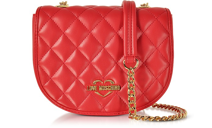 Red Superquilted Eco-Leather Small Crossbody Bag - Love Moschino