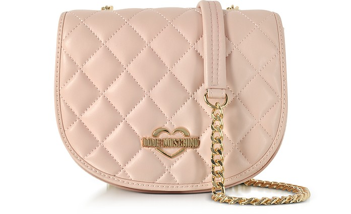 Pink Superquilted Eco-Leather Small Crossbody Bag - Love Moschino
