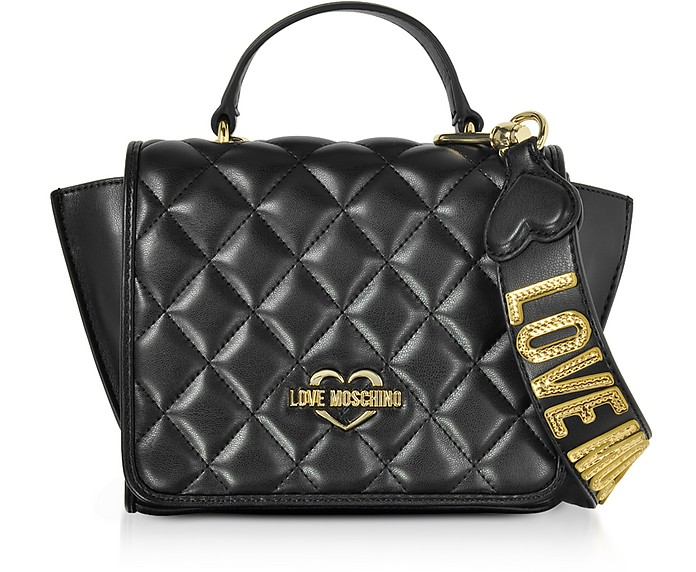 d6d01b60f51 Love Moschino Black Superquilted Eco-Leather Small Shoulder Bag at ...