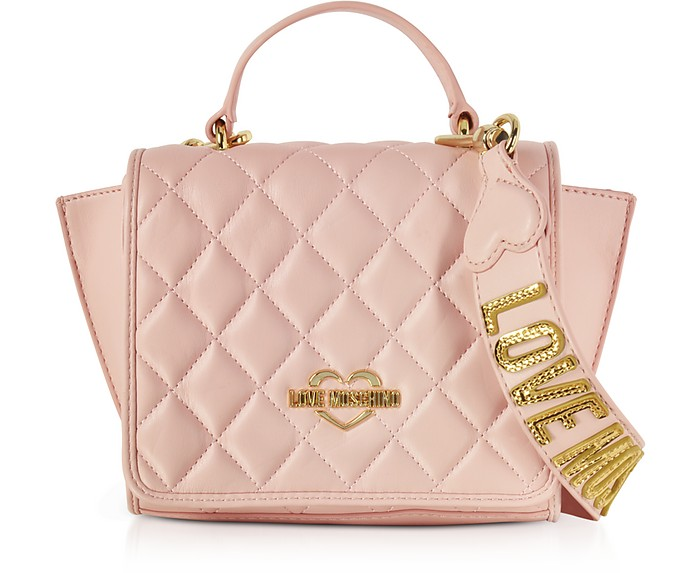a09de49ddc Love Moschino Pink Superquilted Eco-Leather Small Shoulder Bag at ...