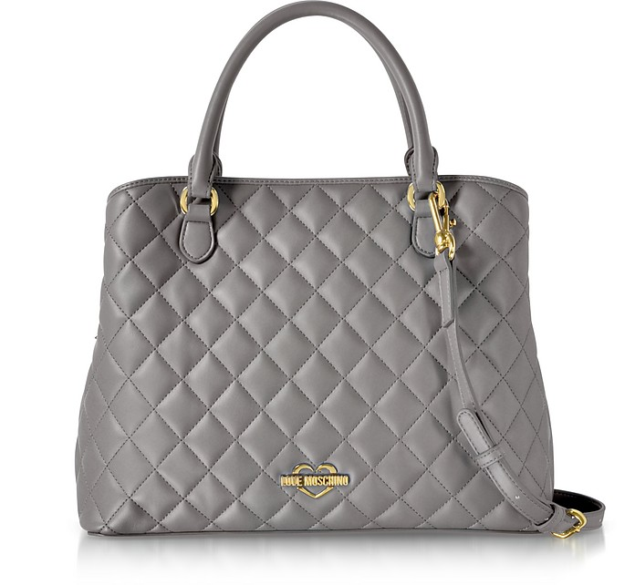 f880fcf9a4f2 Love Moschino Grey Superquilted Eco-Leather Satchel Bag at FORZIERI UK