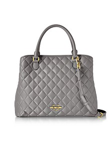 Grey Superquilted Eco-Leather Satchel Bag - Love Moschino
