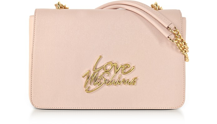Pink Saffiano Eco-Leather Shoulder Bag w/Foulard - Love Moschino