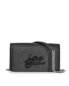 Black Saffiano Eco-Leather Clutch w/Foulard - Love Moschino