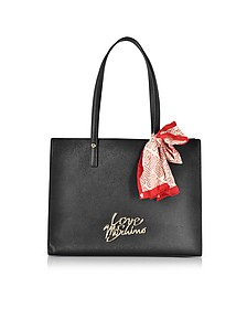 Black Saffiano Eco-Leather Tote Bag w/Foulard - Love Moschino