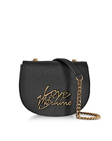 Black Saffiano Eco-Leather Crossbody Bag w/Foulard - Love Moschino