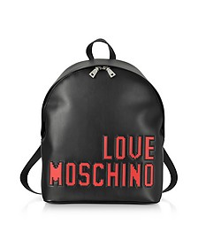 Love Pixel Black Eco-Leather Backpack  - Love Moschino
