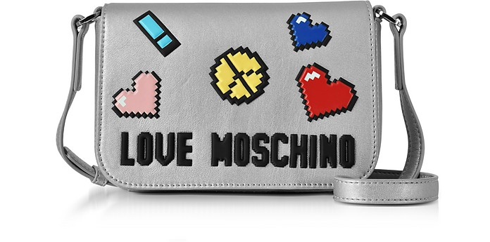 Love Pixel Silver Eco-Leather Crossbody Bag - Love Moschino