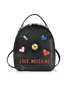 Love Pixel Black Eco-Leather Small Backpack - Love Moschino