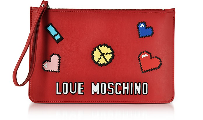 Love Pixel Red Eco-Leather Clutch - Love Moschino