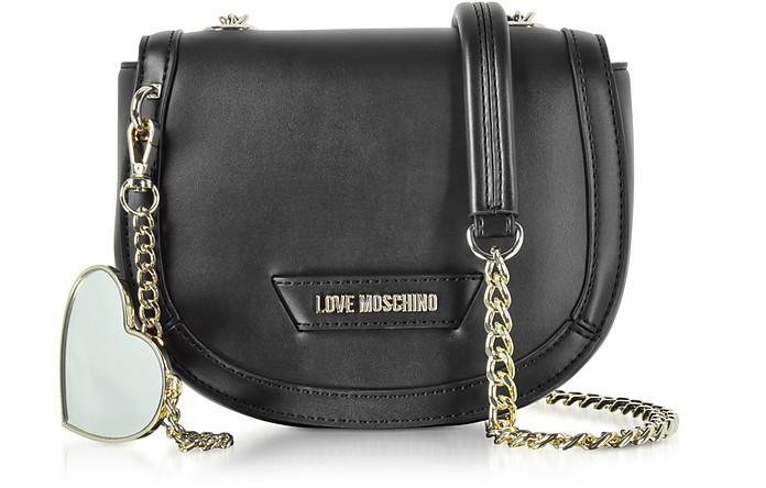 Detachable Heart Black Eco-Leather Crossbody Bag - Love Moschino