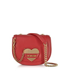Detachable Heart Red Eco-Leather Crossbody Bag - Love Moschino