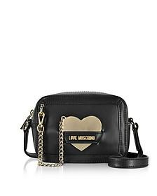 Detachable Heart Black Eco-Leather Camera Bag - Love Moschino