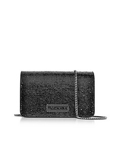Evening Bag Black Eco-Leather Clutch w/Chain Strap - Love Moschino