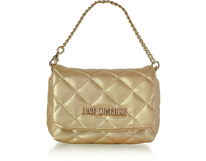 Mini Bag Gold Eco-Leather Clutch - Love Moschino