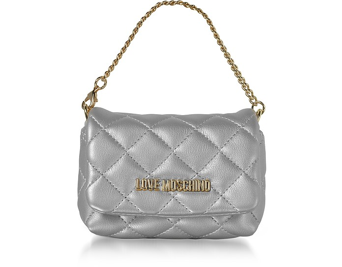 Mini Bag Silver Eco-Leather Clutch - Love Moschino