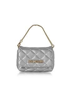 Mini Bag Silver Eco-Leather Clutch - Love Moschino