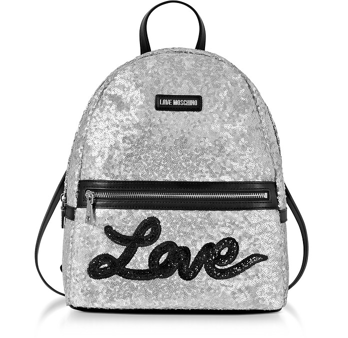 Love Sequins Metallic Silver Backpack - Love Moschino