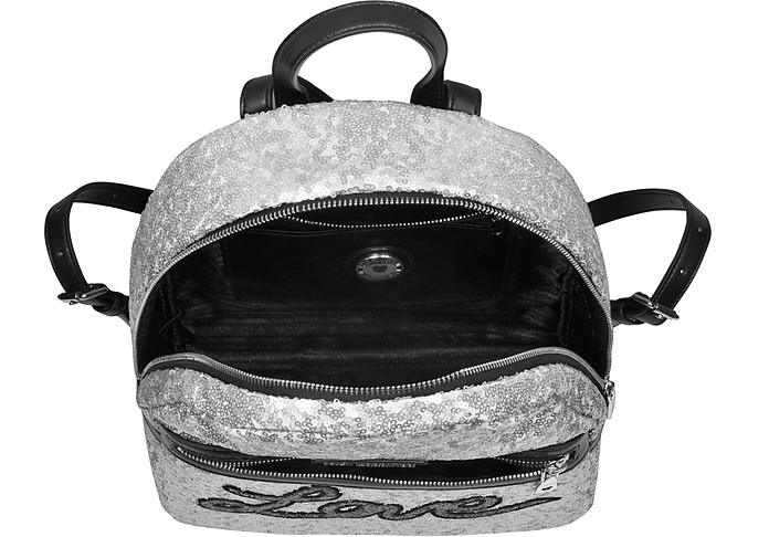 LOVE MOSCHINO Backpacks LOVE SEQUINS METALLIC SILVER BACKPACK