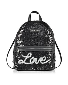 Love Sequins Metallic Black Backpack - Love Moschino