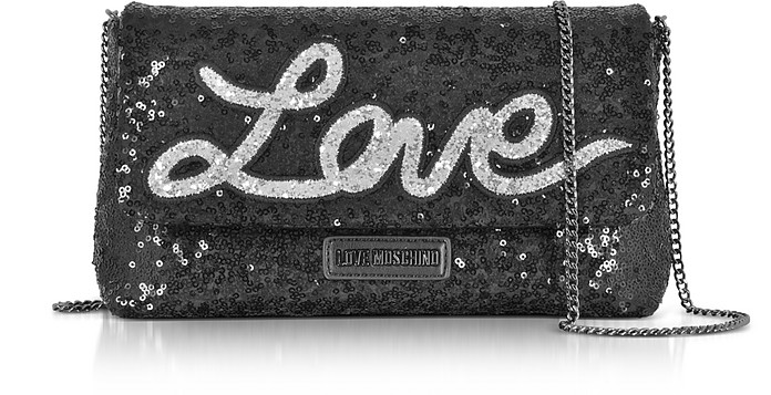 Love Sequins Metallic Black Clutch w/Chain Strap - Love Moschino