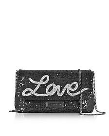 Love Sequins Metallic Black Clutch w/Chain Strap - Love Moschino
