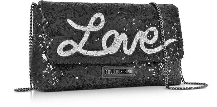 LOVE MOSCHINO Leathers LOVE SEQUINS METALLIC BLACK CLUTCH W/CHAIN STRAP