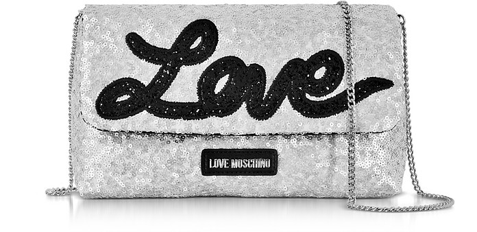 Love Sequins Metallic Clutch Argento con Paillettes Love Moschino 2VutMkQ