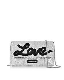 Love Sequins Metallic Silver Clutch w/Chain Strap - Love Moschino