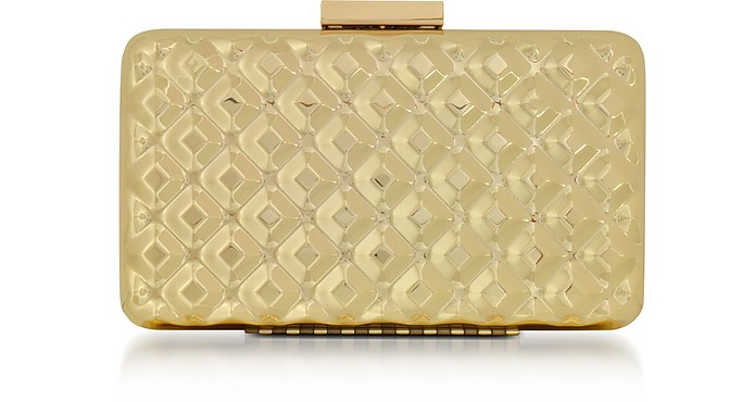 Love Moschino Clutches EVENING BAG METAL GOLD CLUTCH W/CHAIN