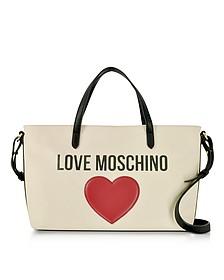 Love Moschino & Heart Cotton Tote Bag w/Strap - Love Moschino