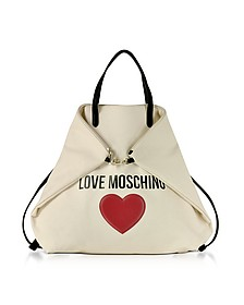 Love Moschino & Heart - Sac à Dos/Cabas en Coton Ivoire - Love Moschino