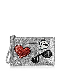 Sparkling Metallic Silver Clutch - Love Moschino