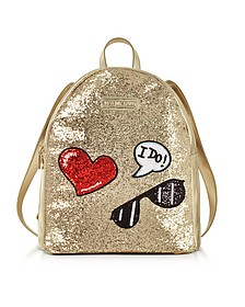 Sparkling Metallic Gold Backpack - Love Moschino