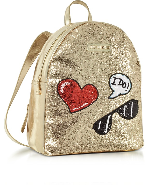 LOVE MOSCHINO Backpacks SPARKLING METALLIC GOLD BACKPACK