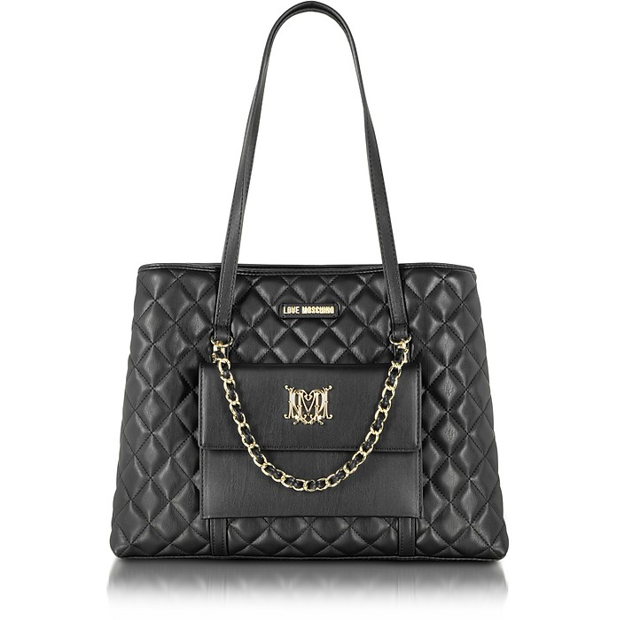 Love Moschino Black Quilted Eco Leather Tote with Detachable Pouch - Moschino