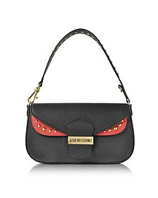 Double Flap Color Block Eco Leather Shoulder Bag - Love Moschino