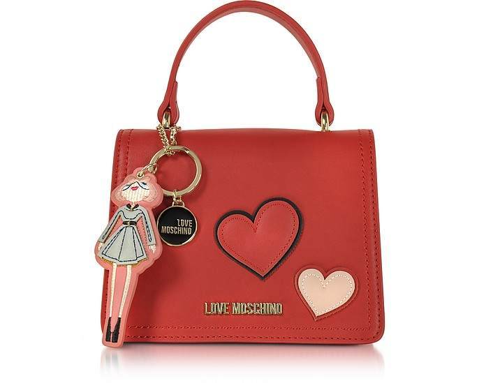 233450da103e6 Love Moschino Red Girls & Hearts Red Mini Satchel Bag at FORZIERI