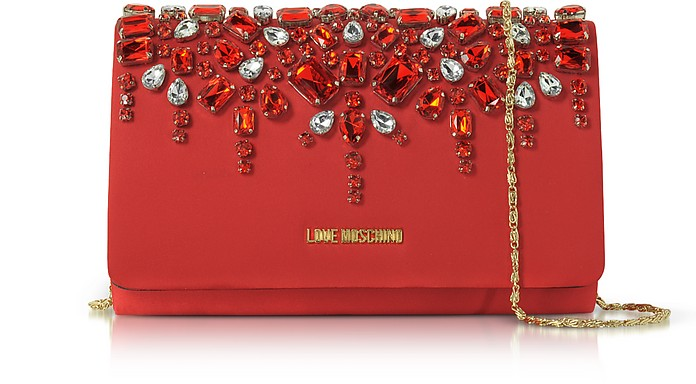 Satin and Crystals Evening Clutch w/Chain - Love Moschino