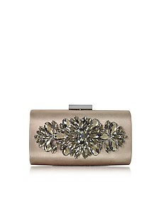 Bronze Satin and Crystals Evening Clutch w/Chain - Love Moschino