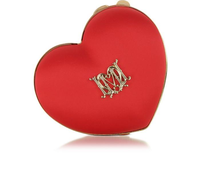Satin Heart Clutch w/Chain Strap - Love Moschino
