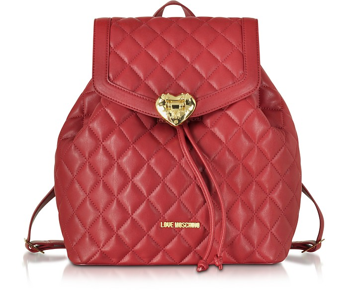 Heart Quilted Eco Leather Backpack - Love Moschino