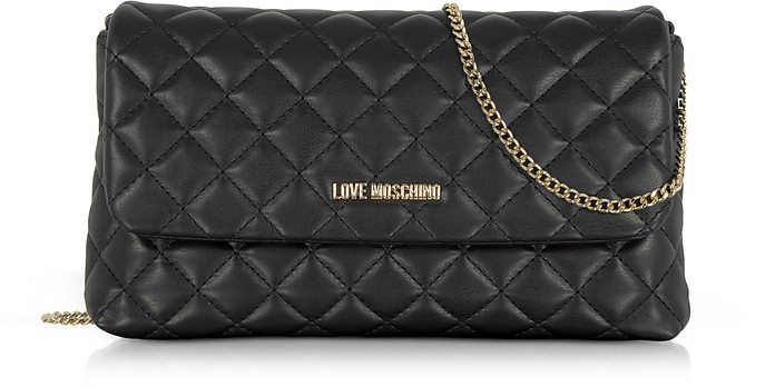 Love Moschino Evening Quilted Black Eco Leather Crossbody Bag At