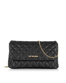 Evening Quilted Black Eco-Leather Crossbody Bag - Love Moschino