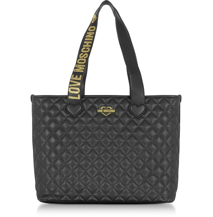 Fashion Quilted Borsa Shopper in Eco Pelle Nera Love Moschino su ... e8ee083750c