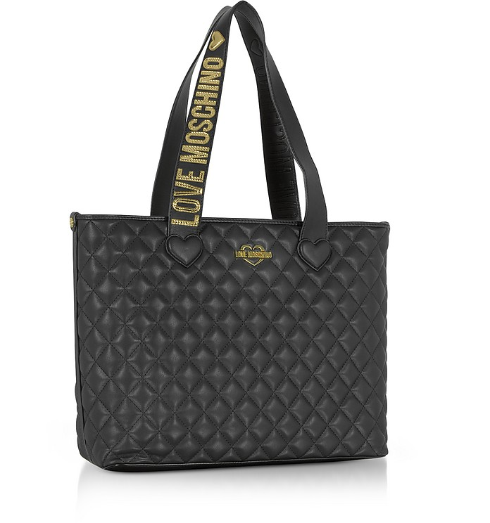 Twitter · Pinterest · Share on Tumblr. Fashion Quilted Borsa Shopper in Eco  Pelle Nera - Love Moschino ff58a359457