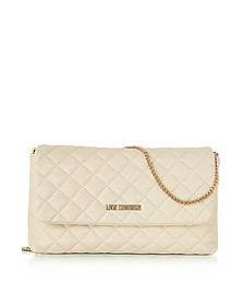 Evening Quilted Ivory Eco-Leather Crossbody Bag - Love Moschino