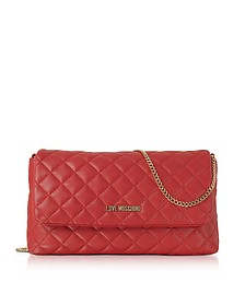 Evening Quilted Red Eco-Leather Crossbody Bag - Love Moschino