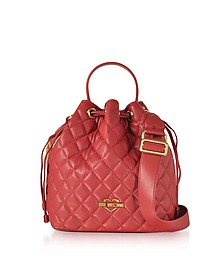 Red Quilted Eco Leather Bucket Bag - Love Moschino